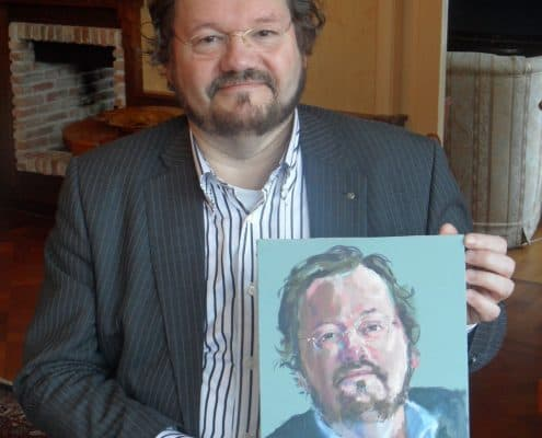 Hubert Hendriks met portret Diederik Grootjans